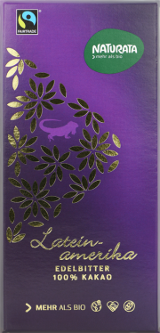 Lateinamerika Edelbitter Bio-Schokolade 100% - 10-Pack - von Naturata